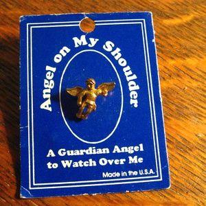 Angel On My Shoulder Vintage Lapel Pin